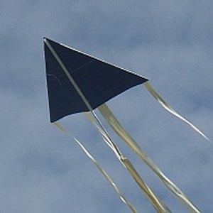The MBK Paper Delta kite in flight.