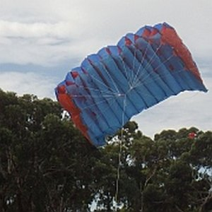 The MBK Parachute kite in flight.