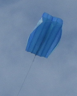 The MBK Parafoil kite in flight.