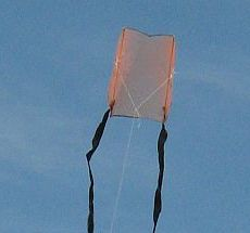 The MBK 1-Skewer Sled kite in flight.