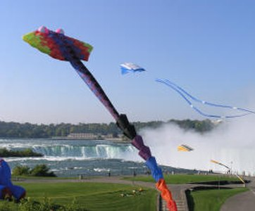 The Niagara International Kite Festival, with the famous falls in view.