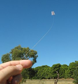 The MBK Paper Sled kite in flight.