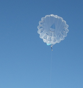 The MBK Parasail kite in flight.