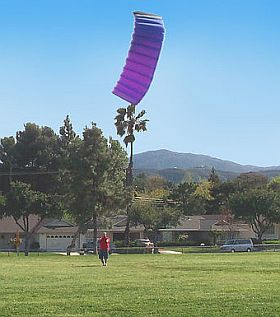 Smaller 2-line power kites can be flown as flexible stunt kites.