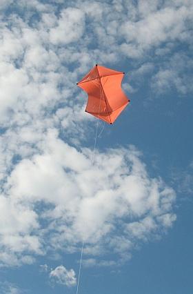 MBK 2-Skewer Rokkaku kite in flight.