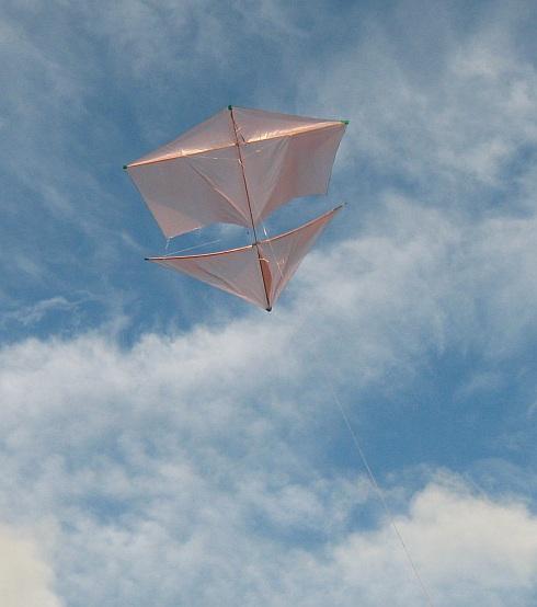 The Dowel Roller kite in flight.