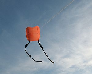 Kite Blog - original 2-Skewer Sled kite in flight.