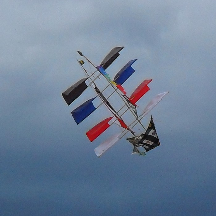 Novelty ship kite in flight - only just!