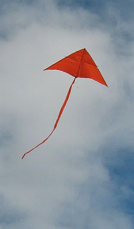 The Simple Delta kite in flight.
