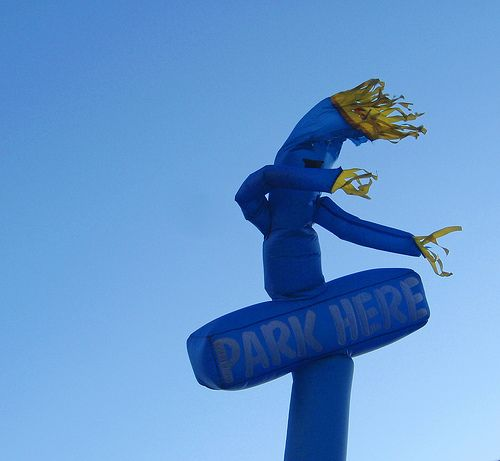 A hilarious photo of a dancing tube man.