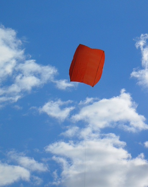 The 2-Skewer Sled kite in flight.