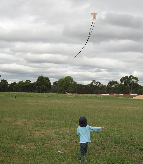 My son Aren flying the tiny 1-Skewer Sode kite.