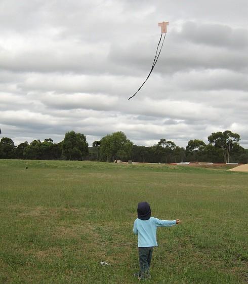 My son Aren flying the tiny 1-Skewer Sode kite.