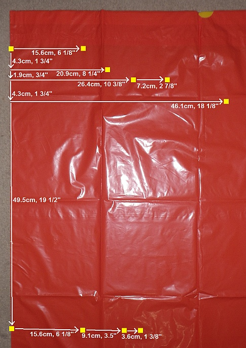 The Soft Sled kite - sail measurements.