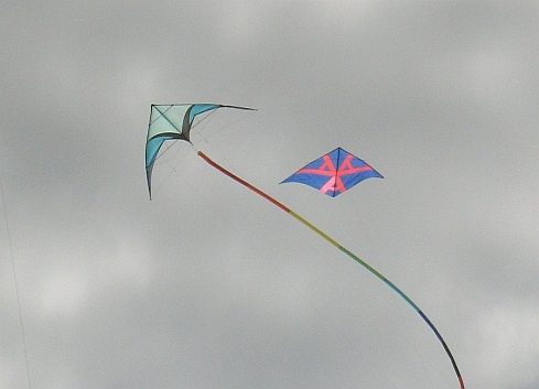 A Delta stunt kite circles around, with a single-line Delta in the background.