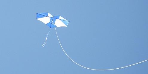A large Genki kite on thick 600 pound line to prevent it over-flying.