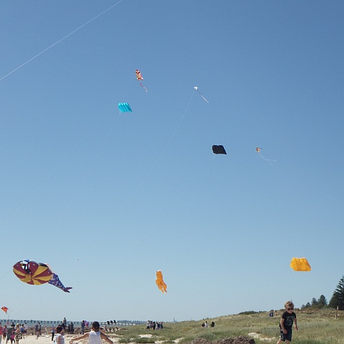 Some of the larger kites at the AKFA Try Kite Flying day at Semaphore, South Australia.