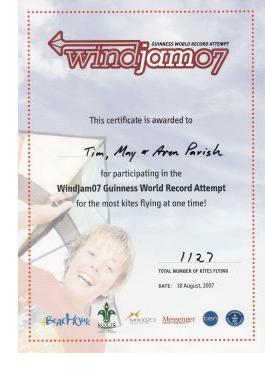 Official certificate for participation in the Windjam event.