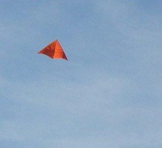 The MBK 2-Skewer Delta kite in flight.