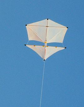 2-Skewer Roller kite in flight.