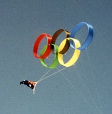 The Olympic Rings as circoflex kites! Made by Anthony Thyssen.