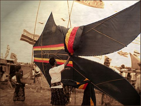 A huge Bebean traditional kite, with some of the framework visible.