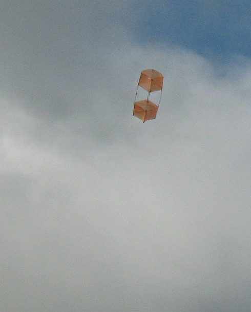The 2-Skewer Box kite in flight