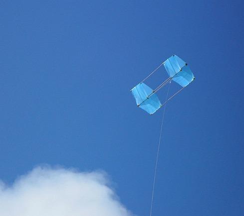 The MBK Fresh Wind Box kite in flight.