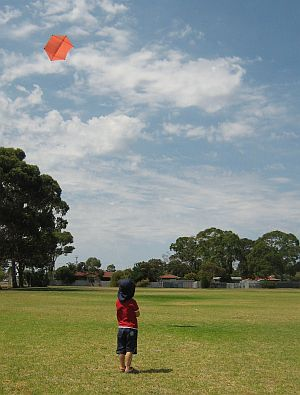 Child Flying Kite - Aren flying the 2-Skewer Rokkaku.