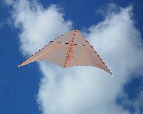 The Dowel Delta kite in flight.