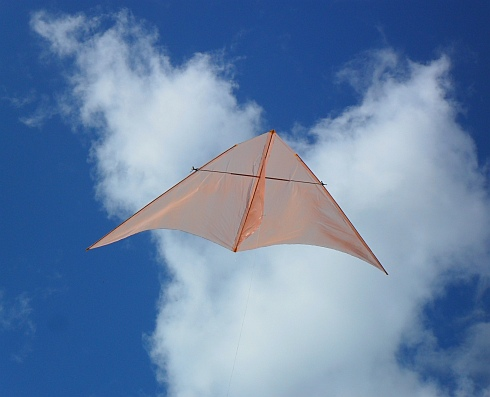 A close-up of the latest MBK Dowel Delta kite in flight.