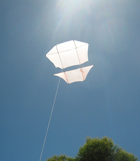 Our home-made Dopero soaring in the sun on a light-wind day.