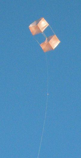 The Dowel Box kite in flight.