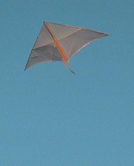 Dowel Delta kite in flight.