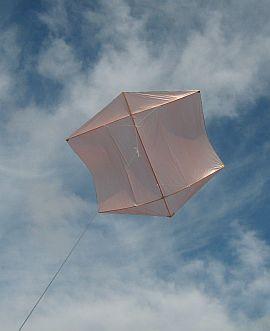 The Dowel Rokkaku kite in flight.