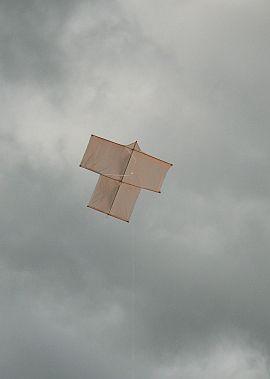 The Dowel Sode kite in flight.