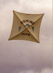 An example of modern fishing kites, made strong and waterproof.