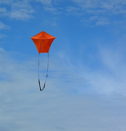 The MBK 3-Skewer A-Frame kite in flight.