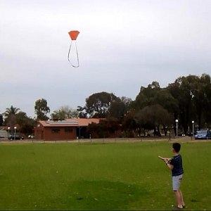 Aren flying the MBK 2-Skewer Barn Door kite.