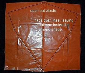 The 2-Skewer Diamond - bag opened out and taped.