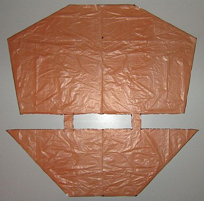 The 2-Skewer Dopero - sail cut out and edged with sticky tape.