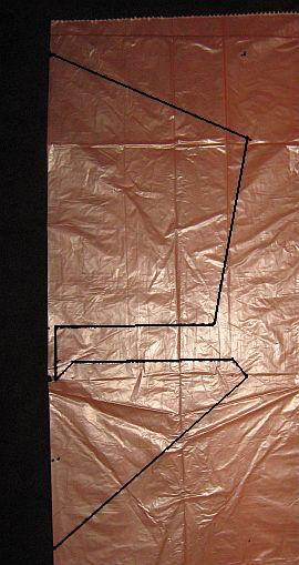 The 1-Skewer Roller - template shape marked on plastic bag.