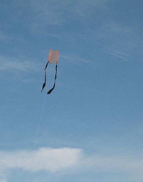The 1-Skewer Sled kite in flight.