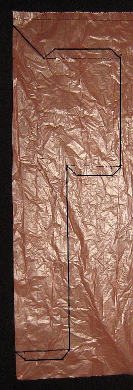 The 1-Skewer Sode - template marked on 1 side of a plastic bag.