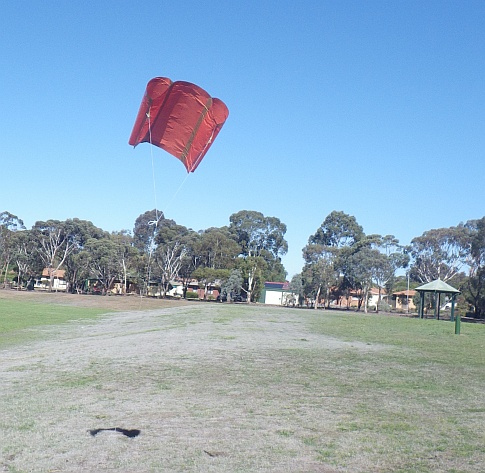 The MBK Soft Sled kite in flight on a 'blue' day.