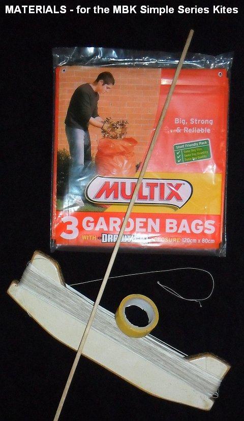 Simple kite building materials.