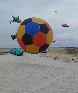 At the Adelaide Kite festival 2013 - a giant bouncing ball sewn up from hexagons and pentagons,