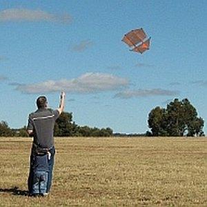 Aren and I flying the 2-Skewer Dopero kite.