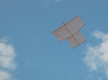 The MBK Dowel Sode kite in flight.