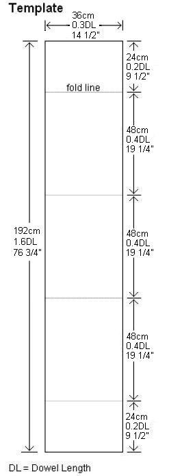 Sail template for the Dowel Box kite.